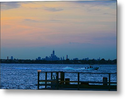 Wtc Over Jamaica Bay From Rockaway Point Pier Metal Print by Maureen E Ritter