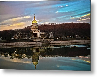 Wv State Capitol At Dusk Metal Print