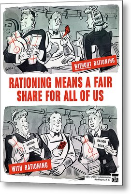 Ww2 Rationing Cartoon Metal Print