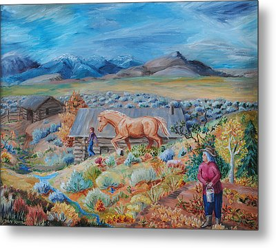 Wyoming Ranch Scene Metal Print by Dawn Senior-Trask