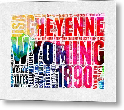 Wyoming Watercolor Word Cloud Map Metal Print by Naxart Studio