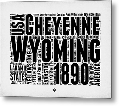 Wyoming Word Cloud Map 2 Metal Print