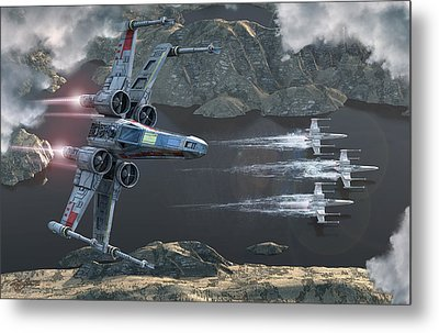 X-wing Along The River Metal Print