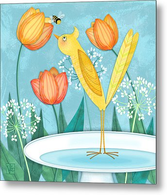Y Is For Yellow Bird Metal Print by Valerie Drake Lesiak