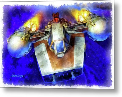 Y-wing Fighter - Aquarell Style Metal Print