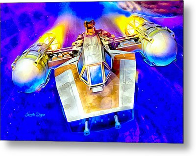 Y-wing Fighter  - Watercolor Style -  - Da Metal Print