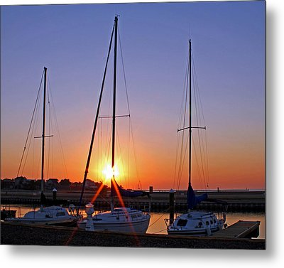 Metal Print featuring the photograph Yacht Club Sunrise by Judy Vincent