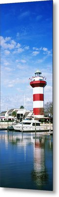 Yachts At A Harbor With Lighthouse Metal Print by Panoramic Images