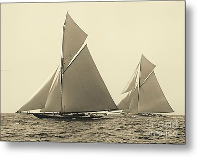 Yachts Valkyrie II And Vigilant Race For Americas Cup 1893 Metal Print by Padre Art