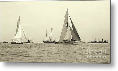 Yachts Valkyrie II And Vigilant Start Americas Cup Race 1893 Metal Print by Padre Art