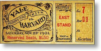 Yale Vs. Harvard Soldiers Field 1901 Vintage Ticket Metal Print by Bill Cannon