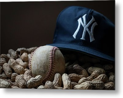 Metal Print featuring the photograph Yankee Cap Baseball And Peanuts by Terry DeLuco