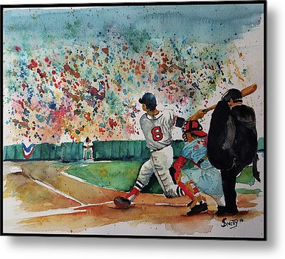 Yaz At The Plate Metal Print by Fred Smith