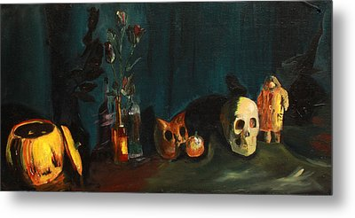 Metal Print featuring the painting Yeah Its Halloween by Jane Autry
