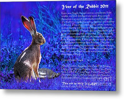 Year Of The Rabbit 2011 . Blue Metal Print by Wingsdomain Art and Photography