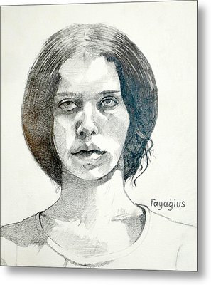 Metal Print featuring the drawing Yelena by Ray Agius