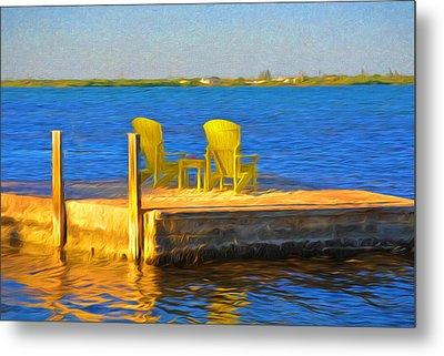 Yellow Adirondack Chairs On Dock In Florida Keys Metal Print