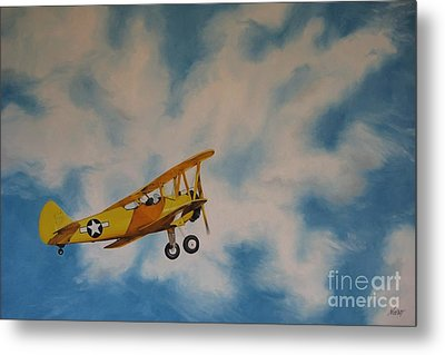 Yellow Airplane Metal Print by Jindra Noewi