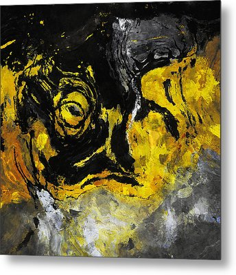 Metal Print featuring the painting Yellow And Black Abstract Art by Ayse Deniz
