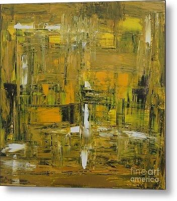 Yellow And Black Abstract Metal Print