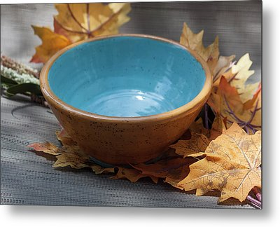 Yellow And Blue Bowl Metal Print