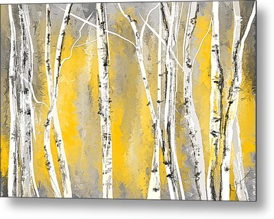 Yellow And Gray Birch Trees Metal Print