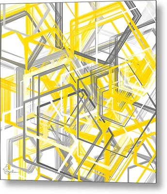 Yellow And Gray Geometric Shapes Art Metal Print