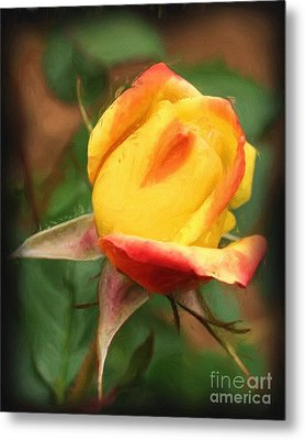 Metal Print featuring the painting Yellow And Orange Rosebud by Smilin Eyes  Treasures