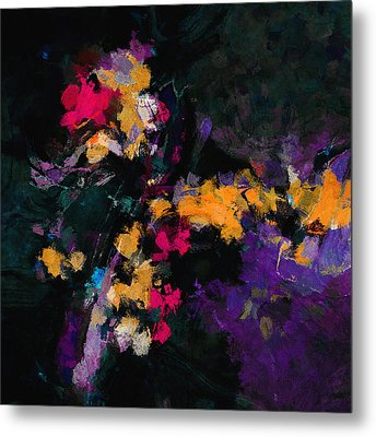 Metal Print featuring the painting Yellow And Purple Abstract / Modern Painting by Ayse Deniz