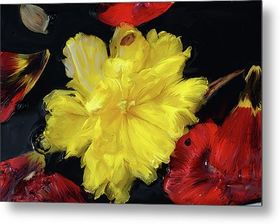 Yellow And Red Flower Painting  Metal Print by Don  Wright