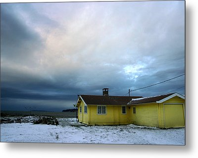 Yellow And Snow And Blue Metal Print by Julius Reque