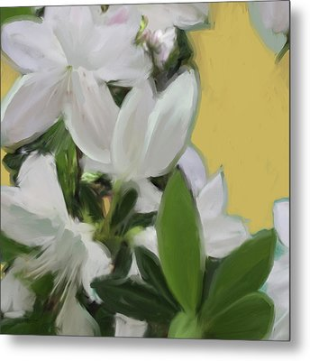 Yellow And White Flower Art 1  Metal Print