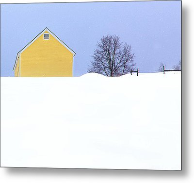 Yellow Barn In Snow Metal Print