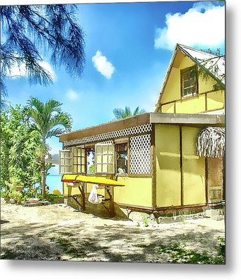 Yellow Beach Bungalow Bora Bora Metal Print by Julie Palencia