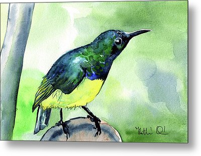Metal Print featuring the painting Yellow Bellied Sunbird by Dora Hathazi Mendes