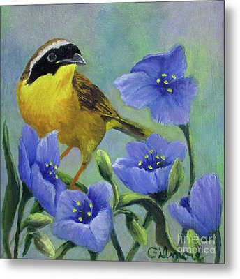 Yellow Bird Metal Print by Roseann Gilmore