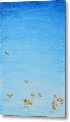Yellow Birds In The Blue2 Metal Print by Nik Helbig