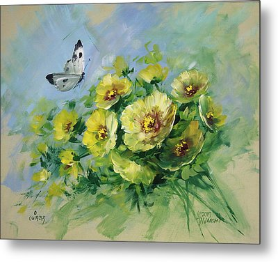 Yellow Blossoms And Butterfly Metal Print by David Jansen