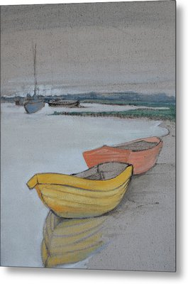 Yellow Boat 2 Metal Print by Amy Bernays