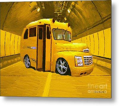 Yellow Bus Metal Print by Jerry L Barrett