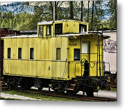 Metal Print featuring the photograph Yellow Caboose by Ron Roberts
