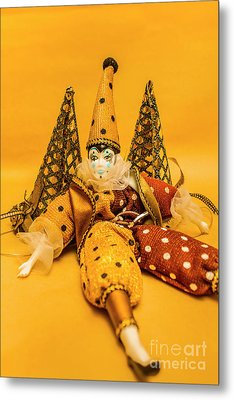 Yellow Carnival Clown Doll Metal Print