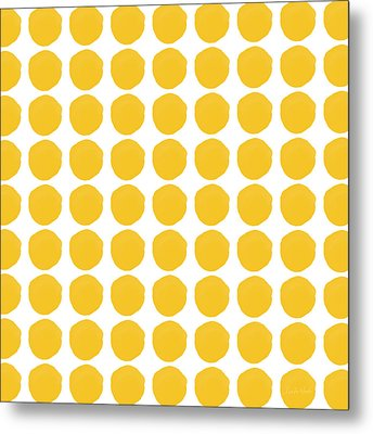 Yellow Circles- Art By Linda Woods Metal Print by Linda Woods