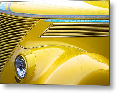 Metal Print featuring the photograph Yellow Classic Car Contours by Polly Castor