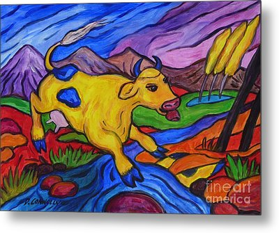 Yellow Cow Jumps A Creek Metal Print