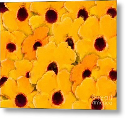 Metal Print featuring the digital art Yellow Daisy Flowers by Smilin Eyes  Treasures
