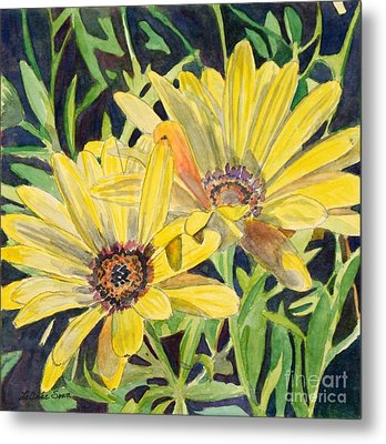Metal Print featuring the painting Yellow Daisy by LeAnne Sowa