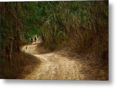 Yellow Dust Road Metal Print