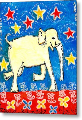 Yellow Elephant Facing Right Metal Print