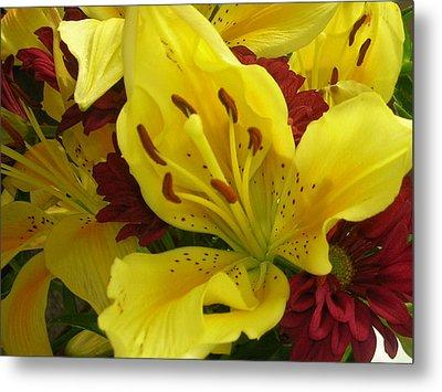 Yellow Floral Metal Print by Nancy Ferrier